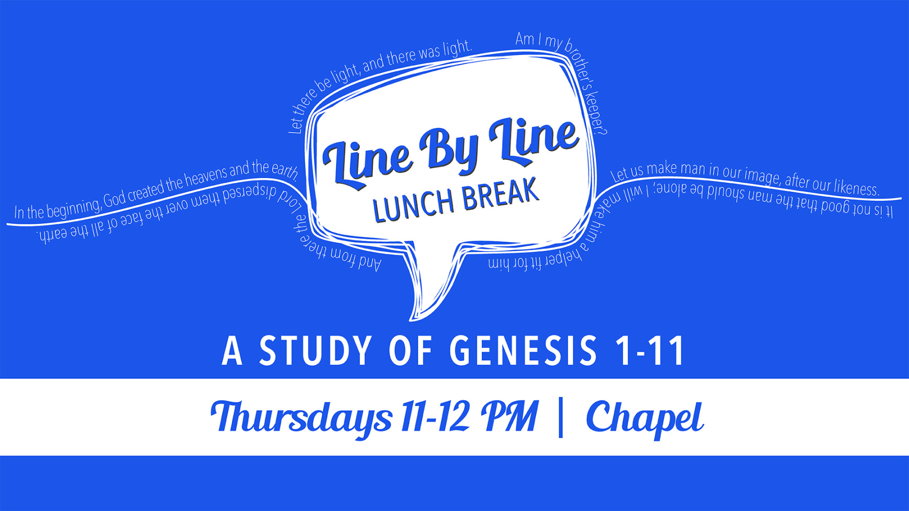 Line by Line: A Study of Genesis 1-11
